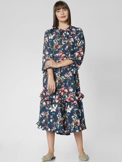 Blue Floral Print Midi Dress