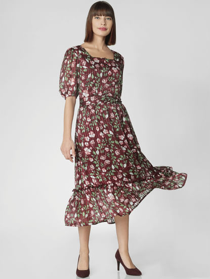 Burgundy Floral Print Midi Dress