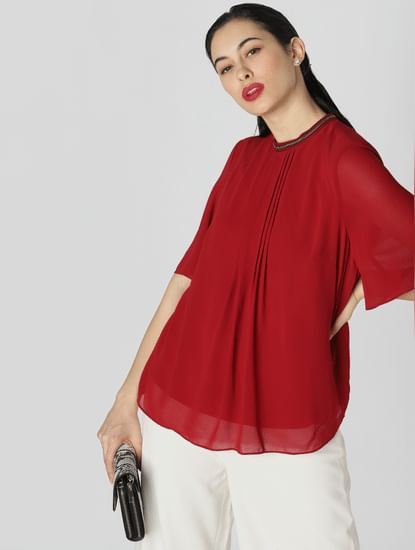 Red Embellished Collar Top