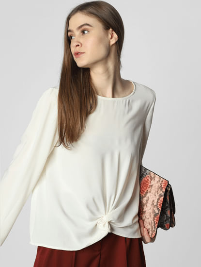 Off-White Front Knot Top