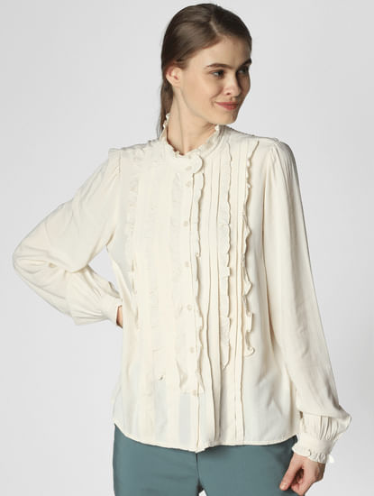Off White Frill Detail Shirt
