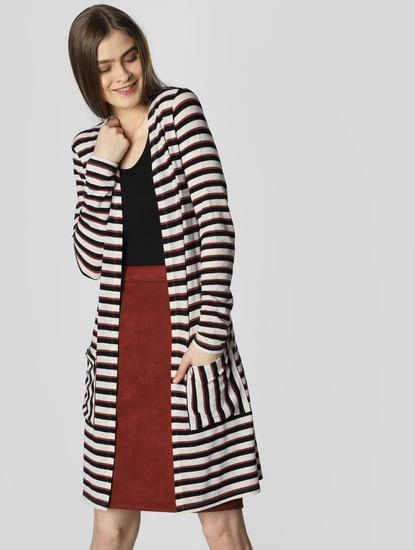 White Striped Long Cardigan