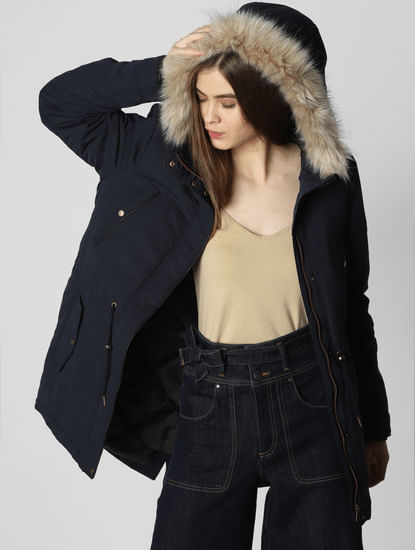 Navy Blue Fur Hooded Jacket