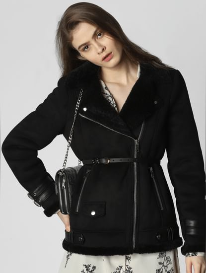 Black Buckle Faux Shearling Jacket