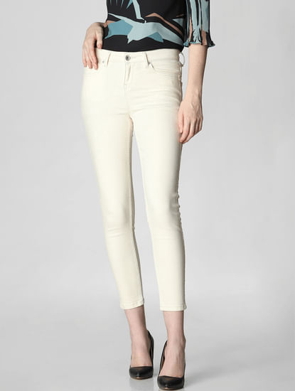 Cream Mid Rise Lace Tape Skinny Fit Jeans