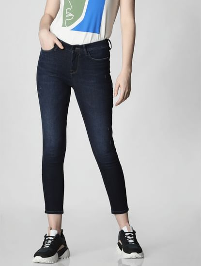 Blue Mid Rise Velvet Side Tape Skinny Jeans