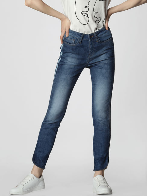 Blue Mid Rise Tape Detail Skinny Fit Jeans