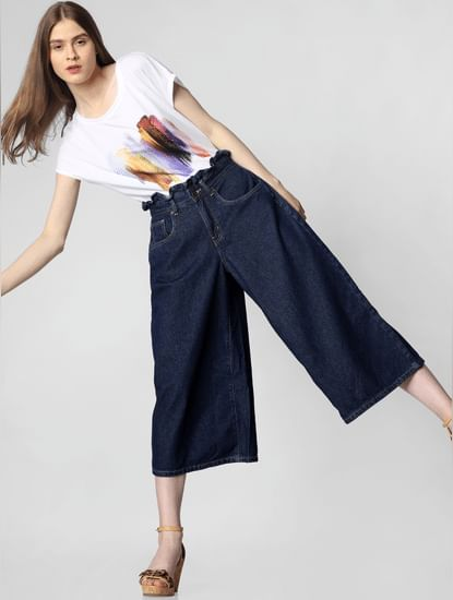 Blue High Rise Paperbag Waist Wide Leg Jeans