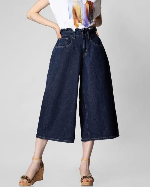 Blue High Rise Paperbag Waist Wide Leg Jeans