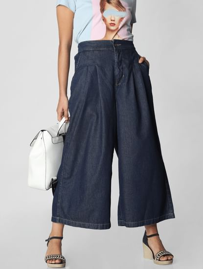 Dark Blue High Rise Denim Culottes