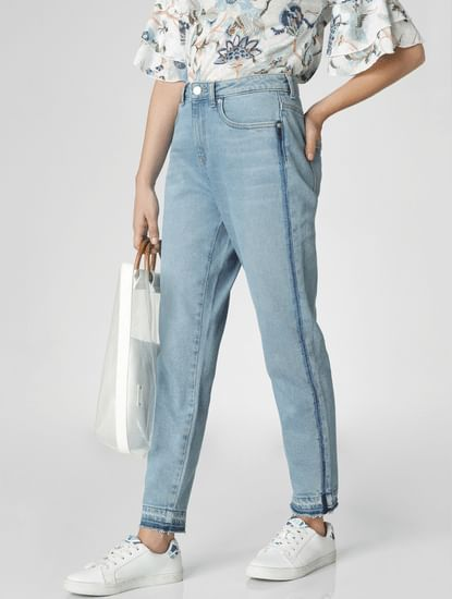 Light Blue Mid Rise Tape Detail Girlfriend Jeans