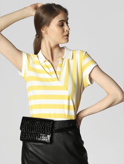 Yellow Striped Polo T-Shirt