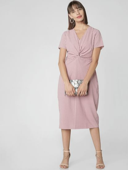 Pink Striped Front Knot Midi Dress