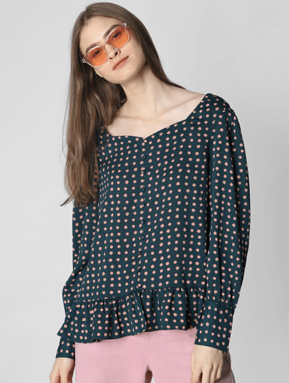 Dark Green All Over Print Top
