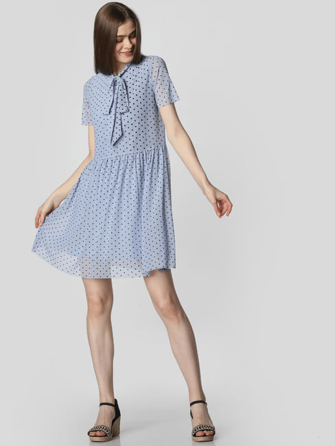 Blue All Over Print Fit & Flare Dress