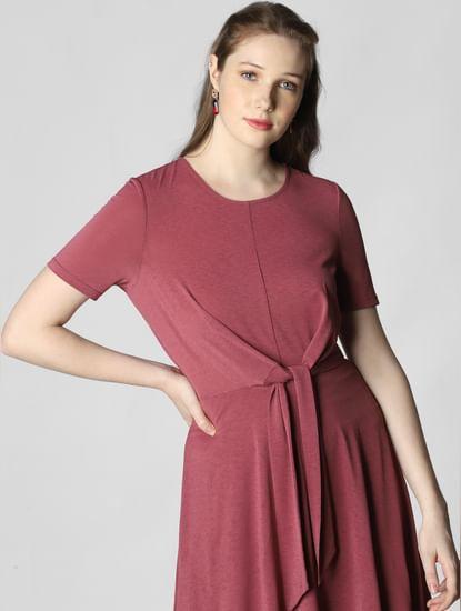 Mauve Fit & Flare Dress