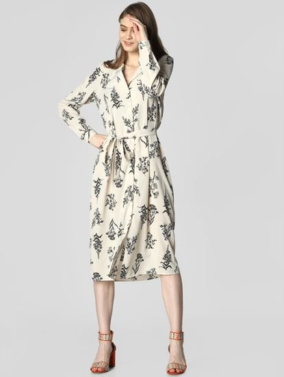 Cream All Over Print Shirt Dress