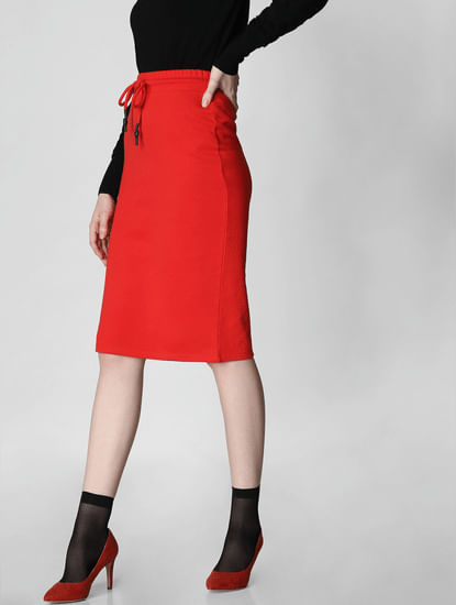 Red High Rise Drawstring Pencil Skirt