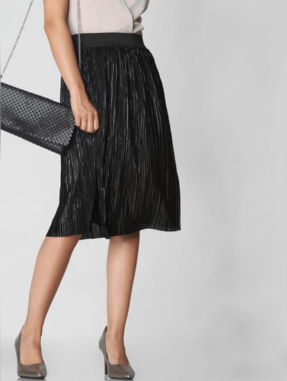 Black Shimmer Pleated Skirt