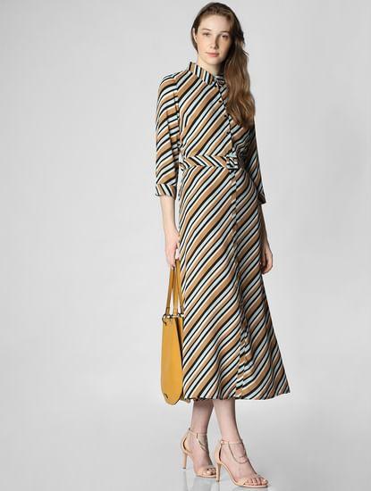 Brown Striped Shirt Dress