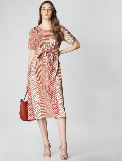 Brown All Over Print Midi Dress