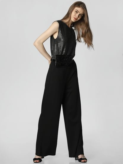 Black Sequin Embellished Jumpsuit