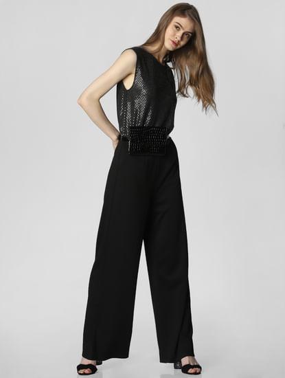 Black Sequin Embellished Jumpsuit