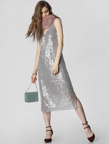 Silver Sequin Embellished Midi Dress