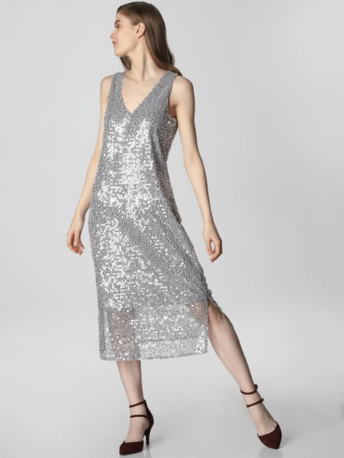 Silver Sequin Embellished Midi Dress