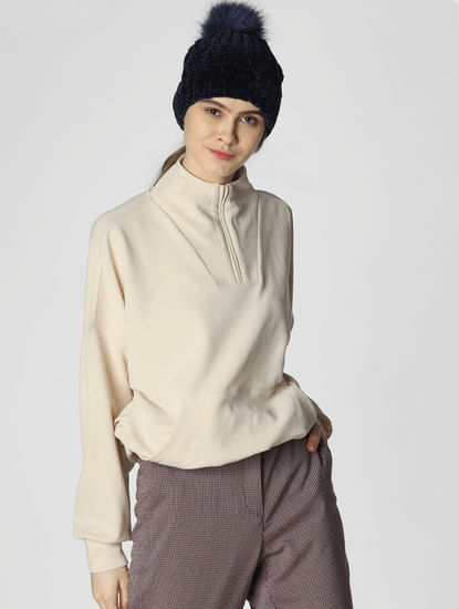 Cream Zipped High Neck Sweatshirt