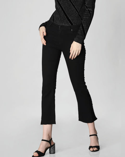 Black Mid Rise Sequin Detail Regular Fit Jeans