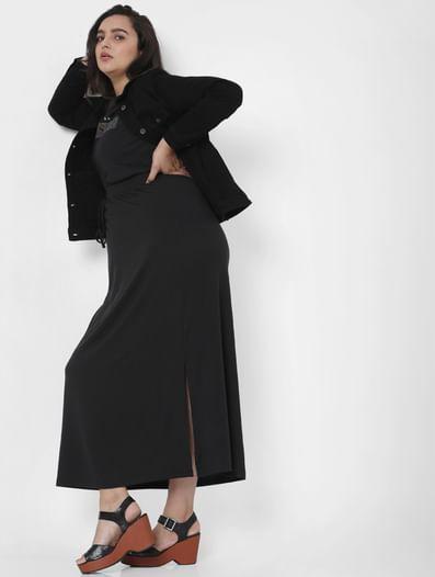 Black Mid Rise Ankle Length Skirt