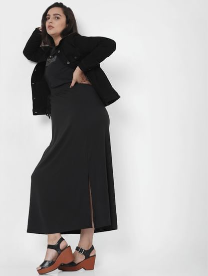 Black Mid Rise Ankle Length Skirt