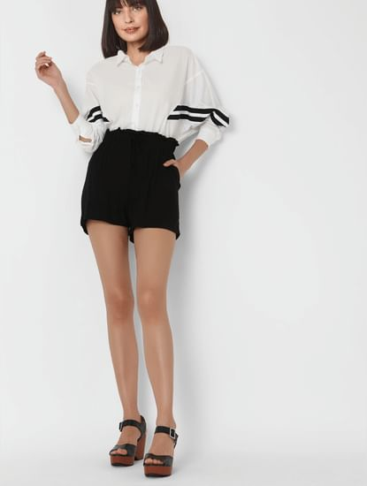 Black High Rise Tie Up Shorts