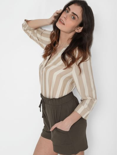 Brown High Rise Tie Up Shorts