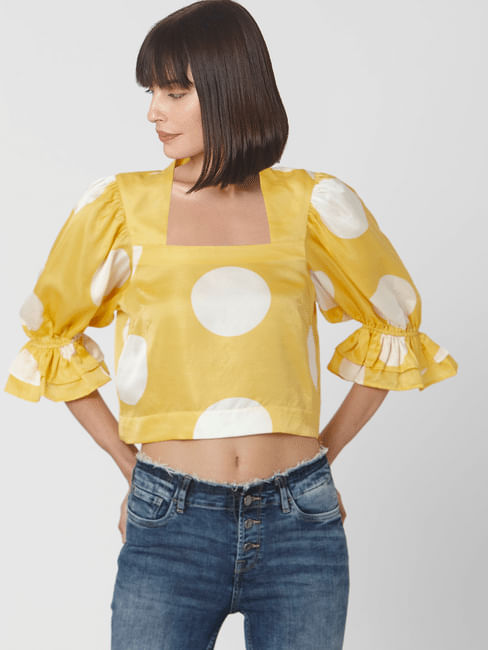 Yellow Polka Dot Ruffle Sleeve Top