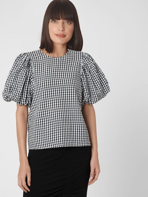 Black & White Gingham Organic Cotton Top