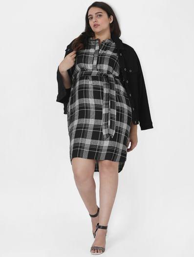 Black Check Shift Dress