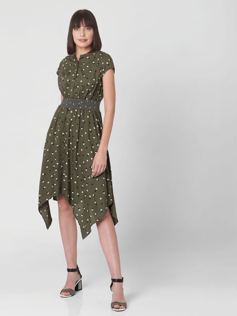 Green Dotted Fit & Flare Dress