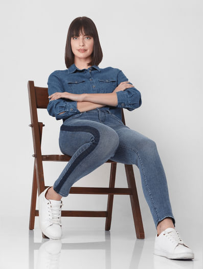 Blue Mid Rise Side Wash Skinny Fit Jeans