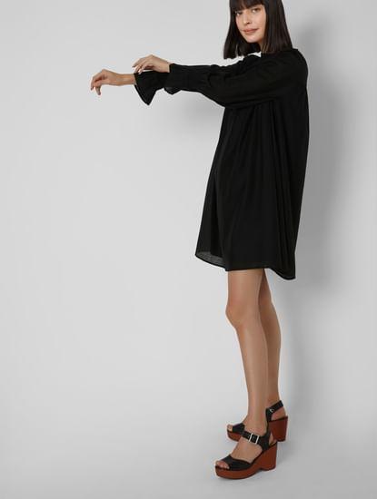 Black Smocked Yoke Shift Dress