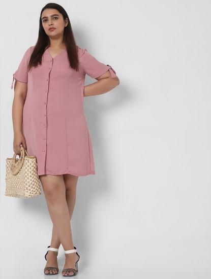 Pink Sleeve Tie Shift Dress
