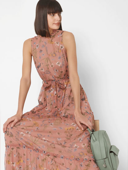 Pink Floral Tiered Maxi Dress