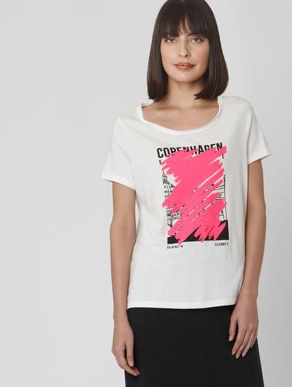 White Scribble Graphic Print T-shirt