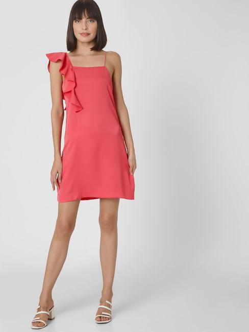 Pink Ruffle Shoulder Shift Dress