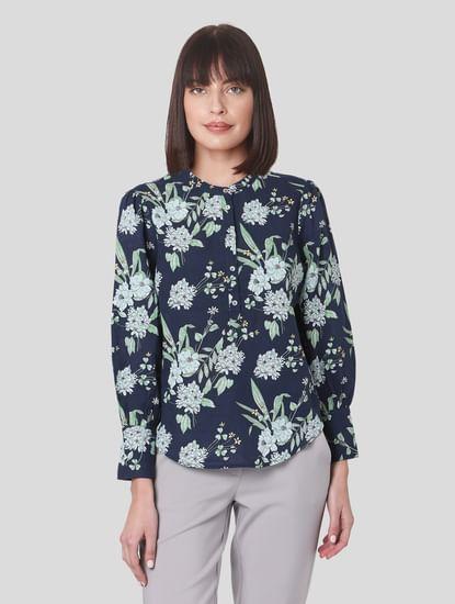 Navy Blue Floral Print Top