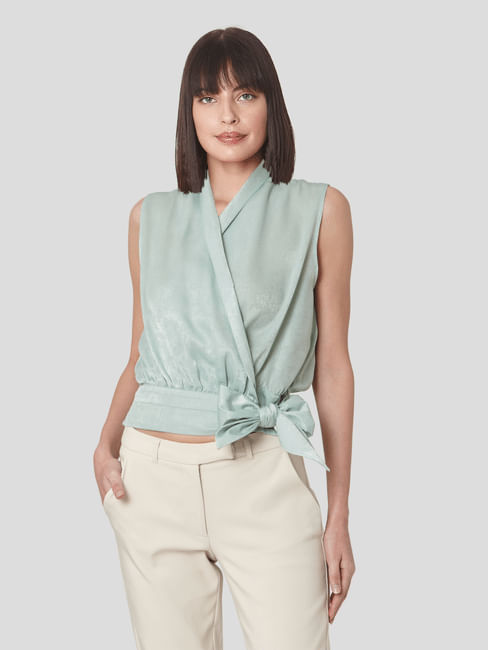 Geen Front Bow Wrap Top