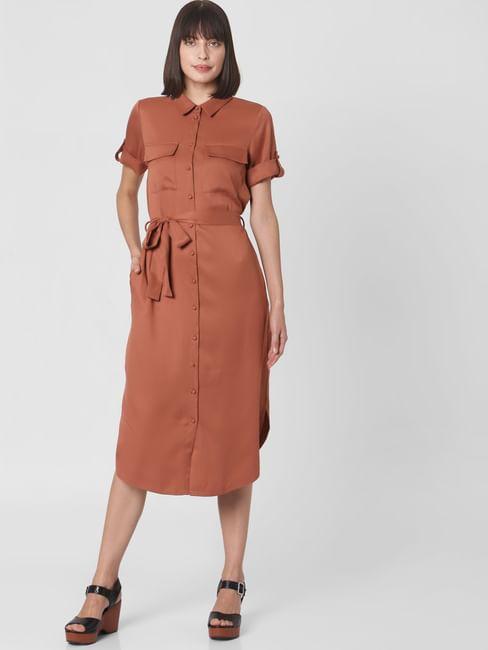 Brown Midi Shirt Dress
