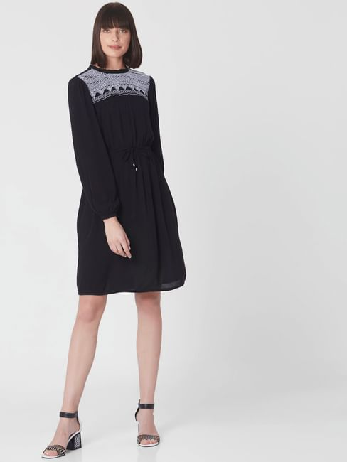 Black Embroidered Yoke Fit & Flare Dress