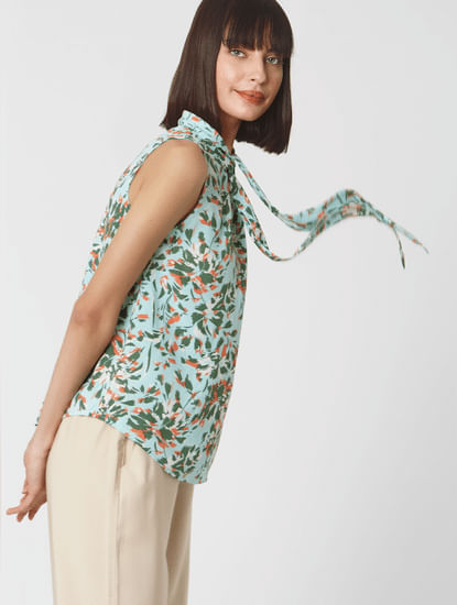 Blue Abstract Print Scarf Neck Top